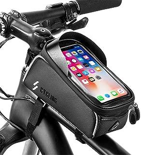 YEHOBU Bike Frame Bag Handlebar Bag Mountain Bicycle Phone Holder Front Frame Bag Waterproof Top Tube Storage Bag Cycling Phone Touch Screen Mount Pack for iPhone 7 8 Plus X XS Below 6.0 inches