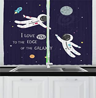 FAFANIQ Universe Kitchen Curtains, I Love You to The Edge of The Galaxy Typography with Astronauts, Window Drapes 2 Panel Set for Kitchen Cafe Decor, Dark Purple and Multicolor,110 * 86 Inch
