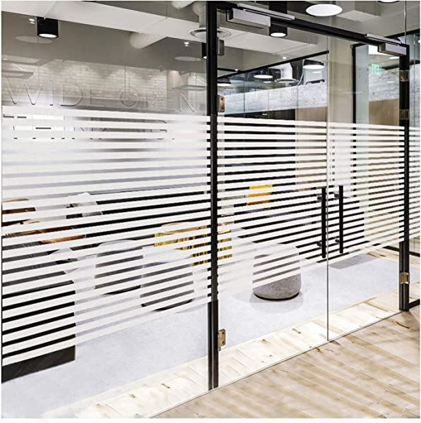 Frosted Window Privacy Clings Non Adhesive Window Film Frosting Stripes Etched Glass Effect For Home Kitchen Office Meeting Room Living Room Easy Removal No Residue Stripes 17 7 X 78 7 Inches