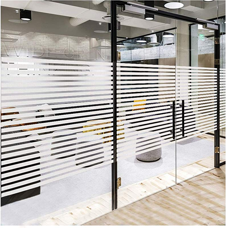 Frosted Window Privacy Film Non Adhesive Static Cling Sticker Etched Glass Effect Frosting Stripes For Home Office Meeting Room Living Room Easy Removal No Residue Stripes 35 4 X 78 7 Inches