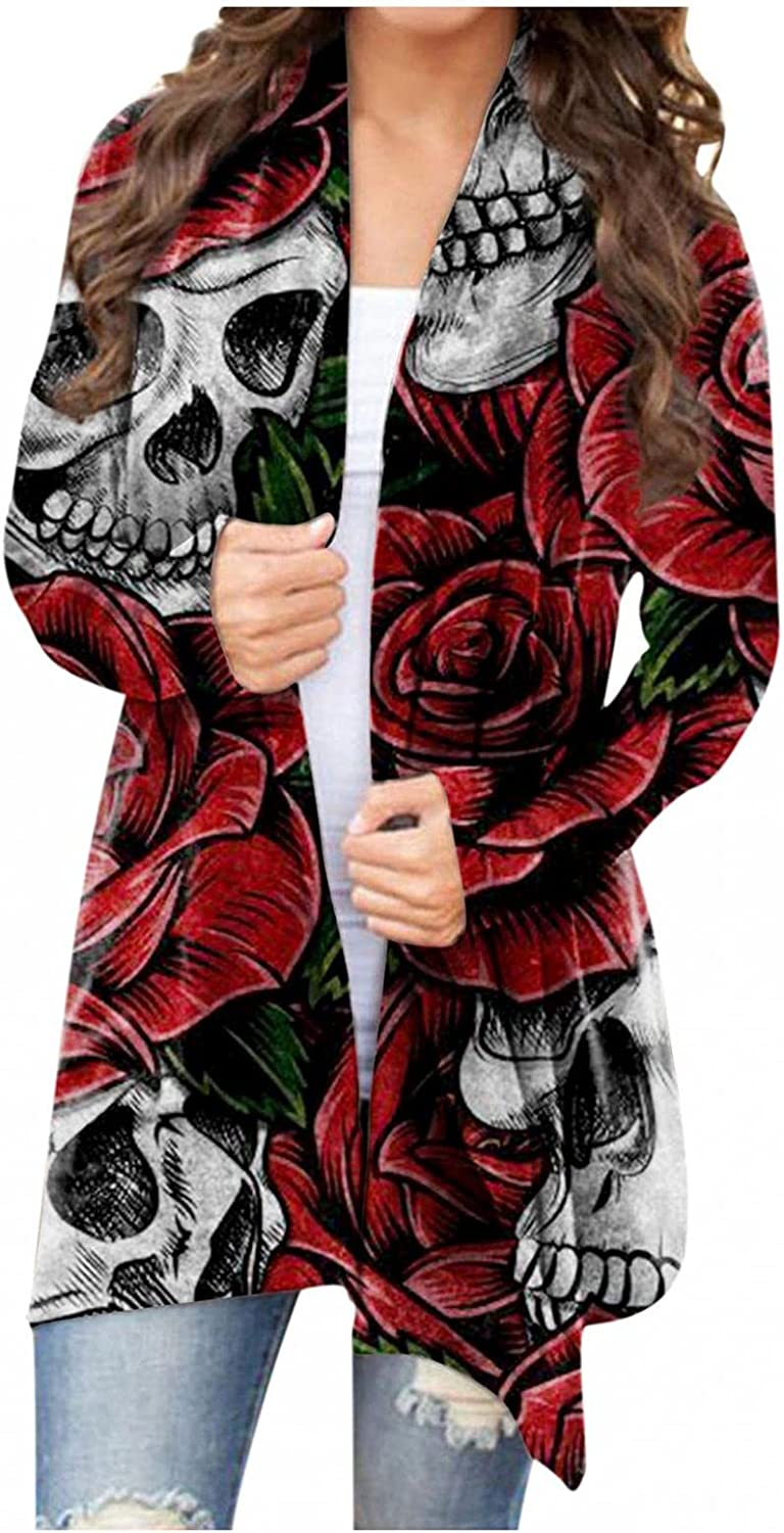 Smileyth Women Halloween Cardigan Coat Print - Party Max 70% OFF OFFicial store Skull Costu