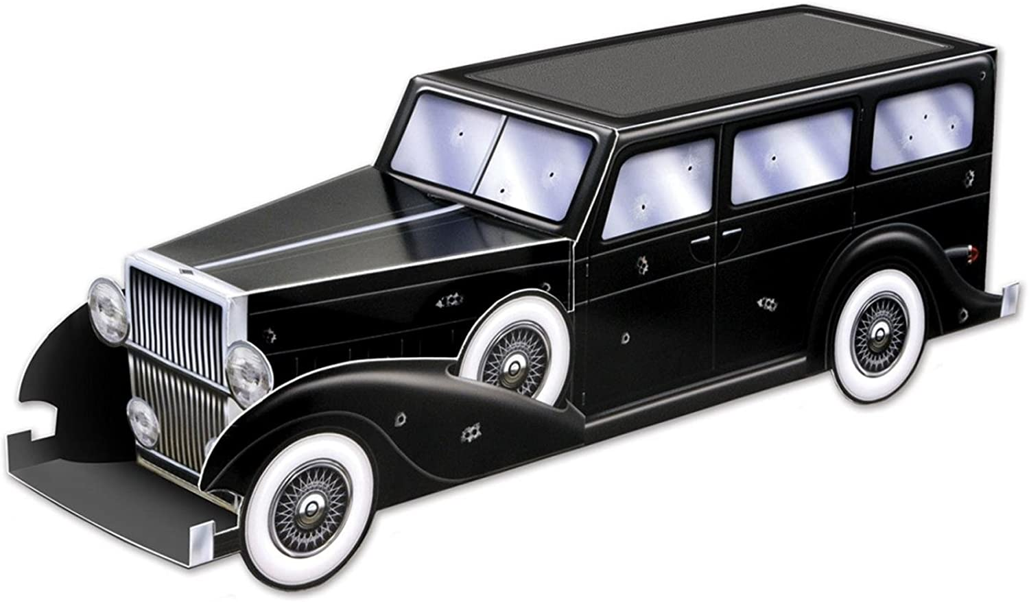 Club Pack of 12 Roaring 20's Themed 3D Gangster Car Centerpiece Party Decorations 12