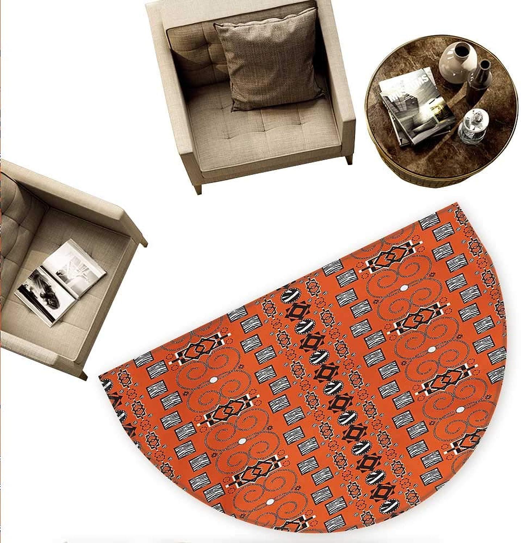 African Semicircular Cushion Ethnic Tribal Pattern with Traditional Ornamental Figures Folk Boho Design Entry Door Mat H 70.8  xD 106.3  orange Black White