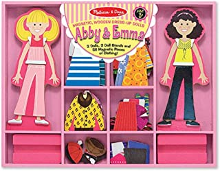 Melissa & Doug Magnetic Dress Up Dolls Activity - Abby & Emma - Girls Gift Set