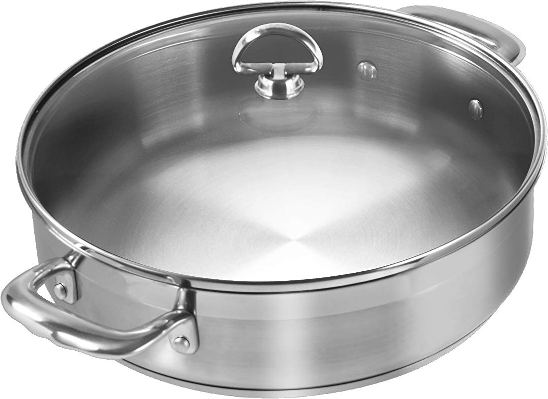 Chantal SLIN29 280 Induction 21 Steel Sauteuse With Glass Tempered Lid 5 Quart