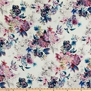 Telio Kimono Poly Georgette Floral Print Mauve White, Fabric by the Yard