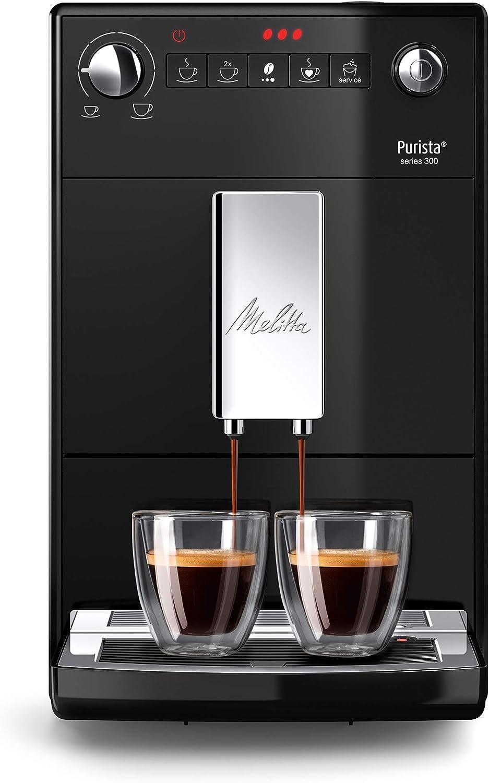 Melitta Purista F230-102, Cafetera Automática con Molinillo Silencioso, 15 Bares, Café en Grano, Limpieza Automática, Personalizable, Negro