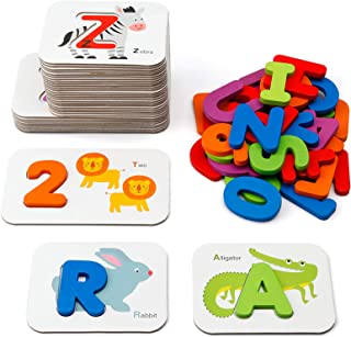 Coogam Numbers And Alphabets Flash Cards Set - Abc Wooden Letters And Numbers Animal Card Board Matching Puzzle Game Monte...