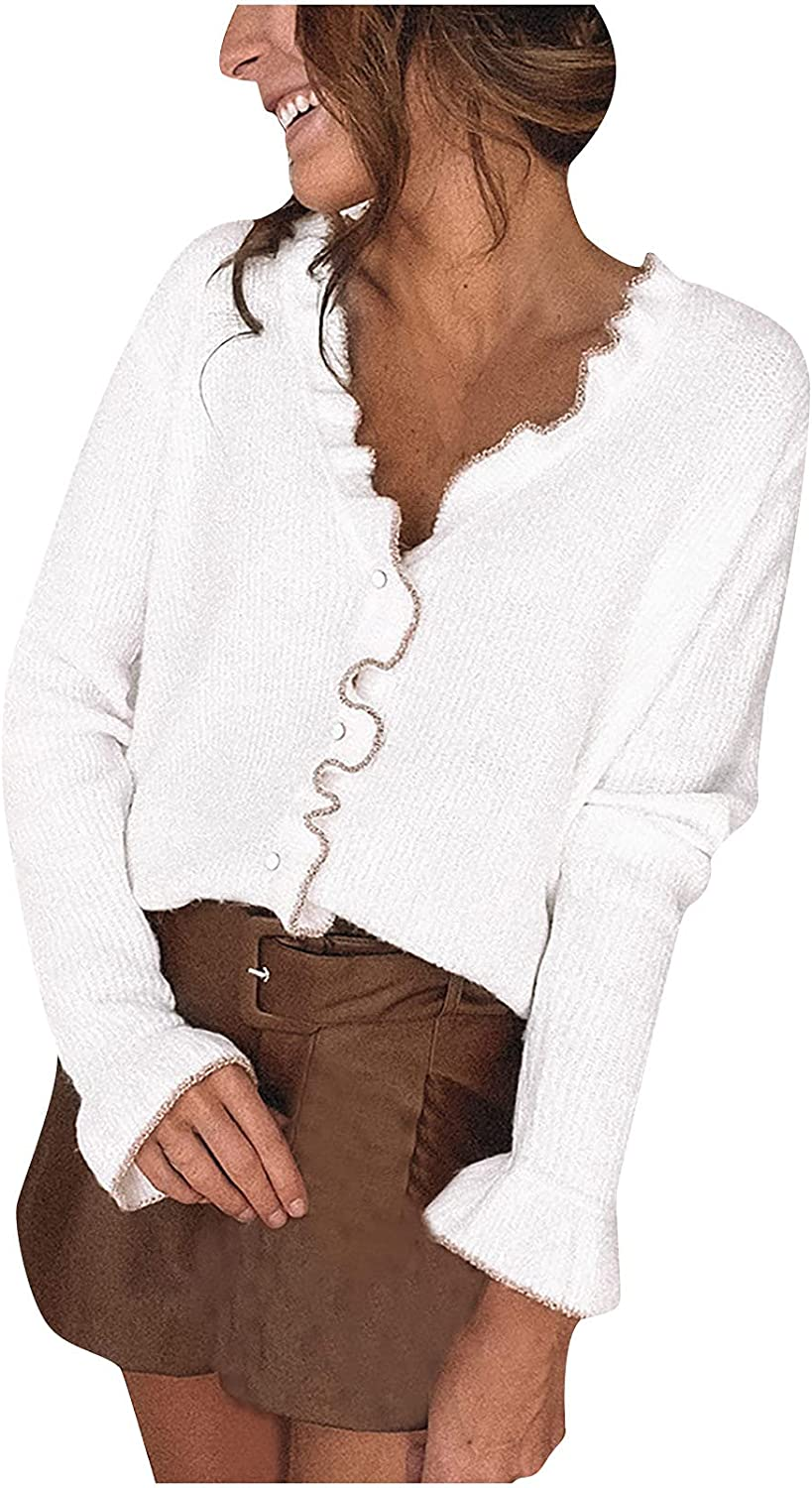 Women's Off Shoulder Ruffle Knit Sweaters Top Long Sleeve Button Down Soft Loose Fall Winter Pullover Sweater