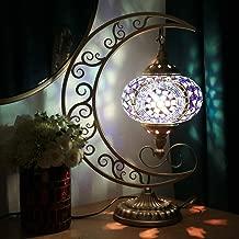 COMMODA Stunning Handmade Moon Shape Turkish Moroccan Mosaic Glass Table Desk Bedside Lamp Light Bronze Base Unique Table Lamp Room Decoration (Blue)