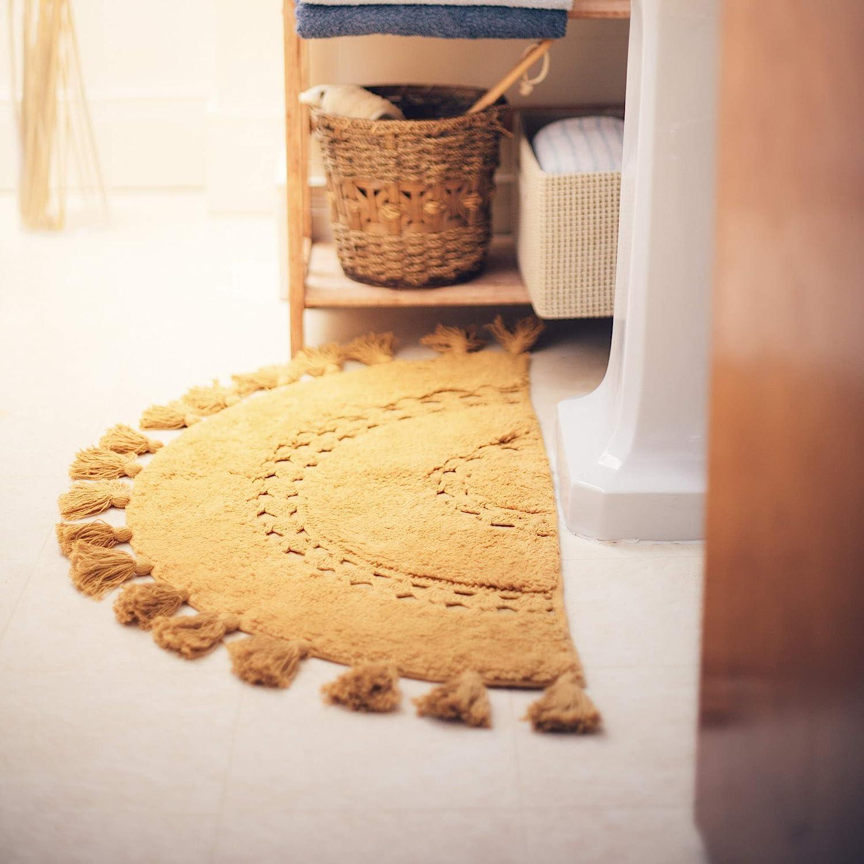 Half Circle Bohemian Bathroom Rug with Tassels & Crochet Insert   Beautifully Handcrafted 20 Cotton Mat   Half Round Boho Bedroom Rug Boho  Bathroom ...