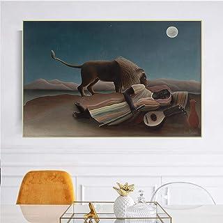 キャンバスプリントアンリ・ルソー《眠るジプシー1897》キャンバス油絵アートワーク写真モダンホームリビングルームデコレーション70x100cmフレームレス