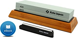 Kota Japan Combination Dual Sided 400-1000 Grit Diamond Knife Sharpener Whetstone Set for Coarse Sharpening & Fine Polishing. Water Stone Kit | Adjustable Bamboo Holder Base | Precision Blade Guide