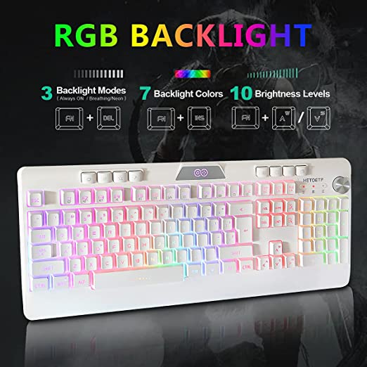 Rechargeable Wireless Keyboard and Mouse Combo, RGB Chroma LED Backlit Gaming Keyboard with 4800 mAh Battery Mechanical Feel Keyboard and 7 Color ...