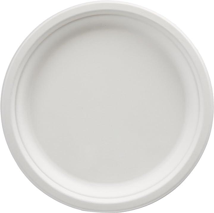 Piatti usa e getta, ecologici, compostabili e biodegradabili, 25 cm, confezione da 250 amazon basics R100-250