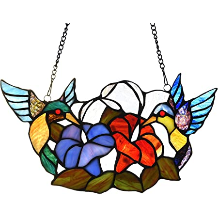 River Of Goods 12 H Stained Glass Hummingbird Floral Window Panel Home Kitchen