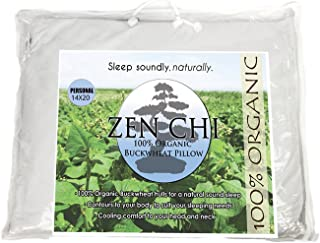 Zen Chi Buckwheat Pillow- Organic Standard Size (14x20) w Natural Cooling Technology- All Cotton Cover w Organic Buckwheat Hulls