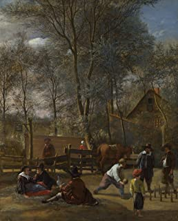 The Museum Outlet - Jan Steen - Skittle Players Outside an Inn, Stretched Canvas Gallery Wrapped. 11.7x16.5