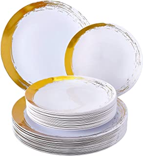 Brushed Disposable DINNERWARE Set | 20 Dinner Plates | 20 Side Plates | Heavy Duty Plastic | for Upscale Wedding and Dining (Gold)