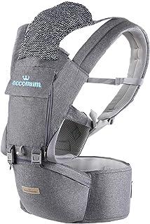Eccomum Mochila Portabebé Ergonómico Multifuncional 6 en 1, Cinturón Ajustable, Multiposición Dorsal y Ventral para 3-36 meses bebes, Algodón Puro Ligero y Transpirable