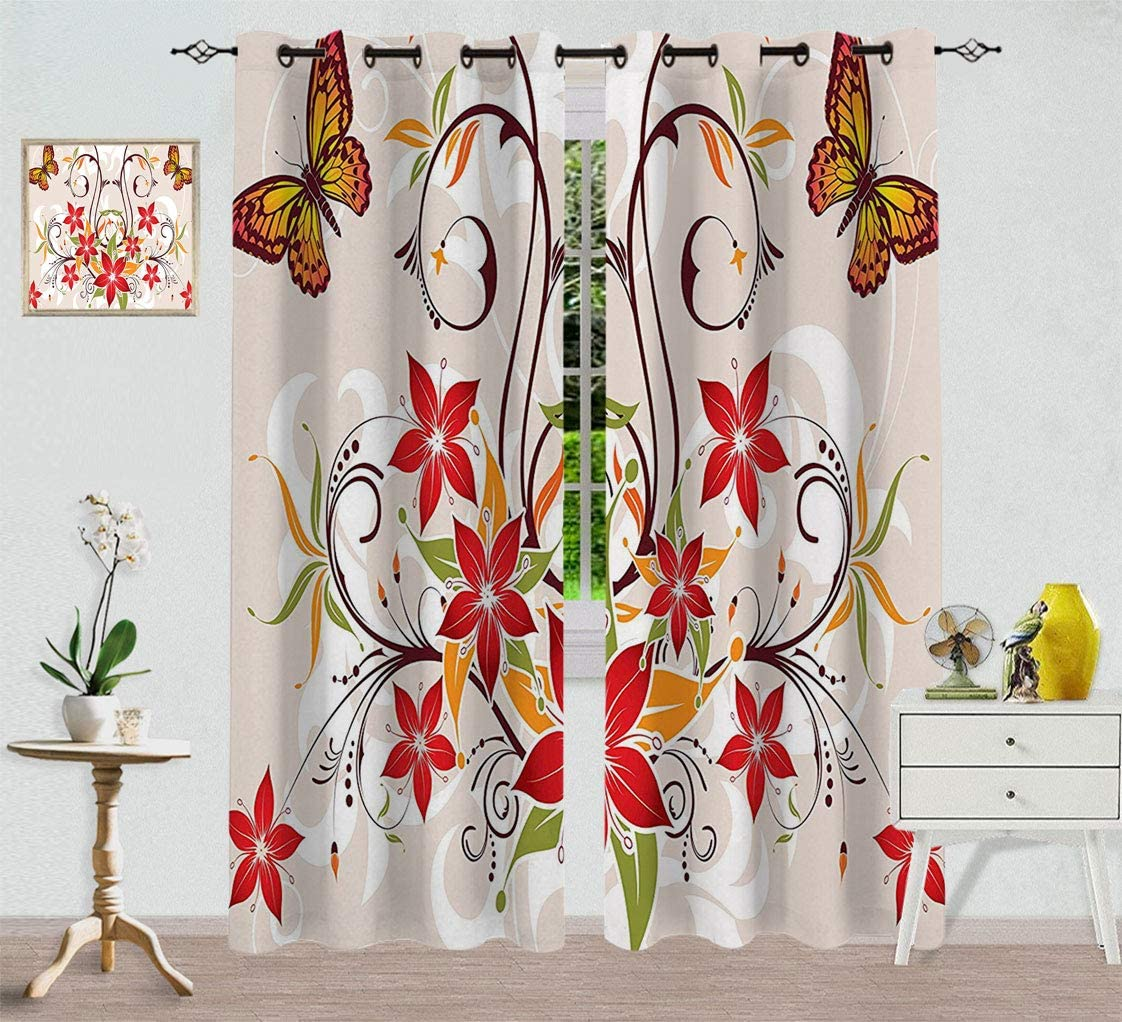 All items in the store Hydaprint Max 84% OFF Floral Custom Blackout Flouri Curtain and Butterflies