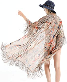 Womens Beach Swimsuit Cover Up, Long Floral Kimono Cardigan Bohemian Loose Blouse
