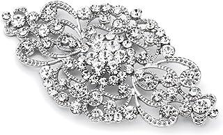 """Mariell Vintage Bridal Crystal Brooch Pin - 4"""" Wide Antique Silver Rhinestone Wedding & Fashion Glam"""