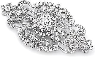 Mariell Vintage Bridal Crystal Brooch Pin - 4