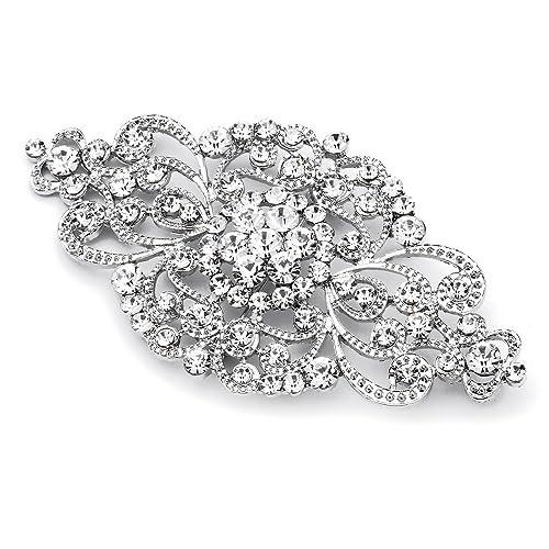6f18d2ecd Mariell Vintage Bridal Crystal Brooch Pin - Top Selling Antique Silver  Rhinestone Wedding & Fashion Glam