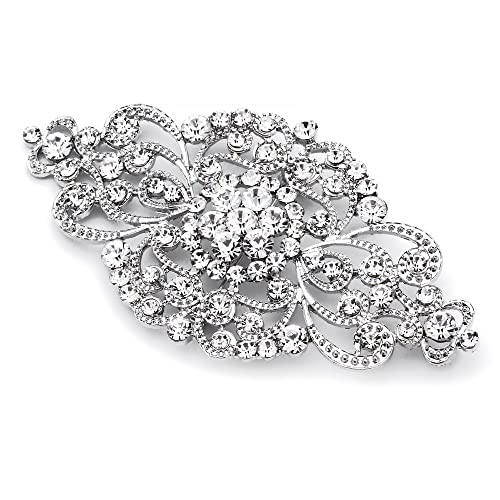 7489d9520e0 Mariell Vintage Bridal Crystal Brooch Pin - Top Selling Antique Silver  Rhinestone Wedding & Fashion Glam