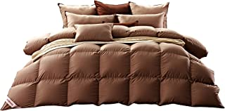 SNOWMAN Luxurious Goose Down Comforter Queen Size 100% Cotton Shell with Corner Tab-Extra Warm, Khaki Solid Christmas Customer Appreciation Sale- 35% discounted from $159 to below prices!