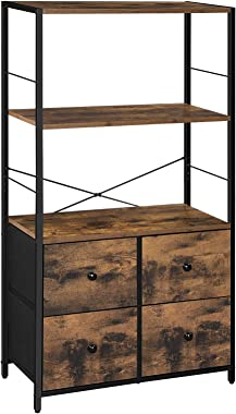 SONGMICS Rustic Storage Cabinet, Storage Rack with Shelves and Fabric Drawers, Industrial Bookshelf in Living Room, Study, Be