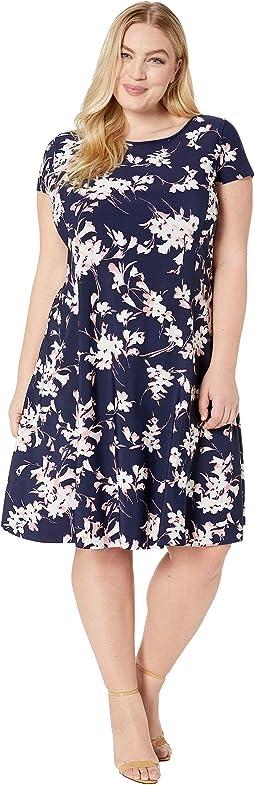 Plus Size Short Sleeve Printed Scuba Dress