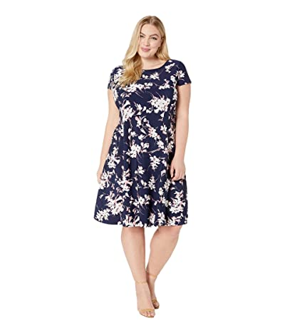 Tahari by ASL Plus Size Short Sleeve Printed Scuba Dress (Navy/Blush/Ivory) Women
