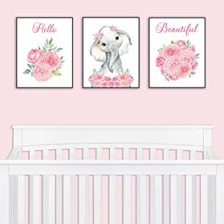 Nursery Decor - Safari Elephant Bedroom Wall Art Decor for Nursery | Decorative & Easy to Frame Printed Pictures 8x10-inch | 3 - (UNFRAMED) Prints | Sweet Elephant Baby Girl Nursery or Girl's Bedroom