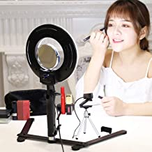 Table Top LED Selfie Ring Light with Stand for Makeup 8-inch Dimmable 24W 5500K O Circular Beauty Lamp with Bracket+3.5