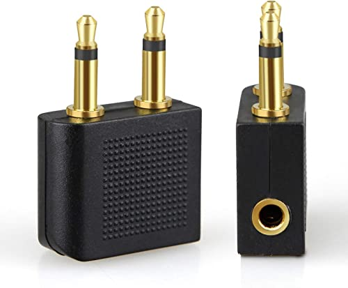 T Tersely Airplane Headphone Audio Adapter, [2 Pack] for Audio Jack to Plug Air Plane Flight Connector Dual Socket He...