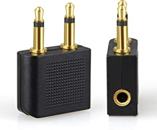 TERSELY Airplane Headphone Audio Adapter, [2 Pack] for Audio Jack to Plug Air Plane Flight Connector Dual Socket Headphone...