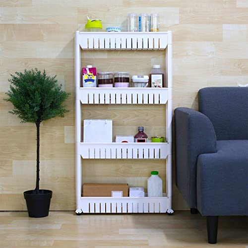 ESSPY 4 Layer Plastic Rack Stand Organizer with Trolley cart Wheels for Multipurpose Storage Shelf in Kitchen Bathroom Living Room in Home appliances Big Size Light WHITE