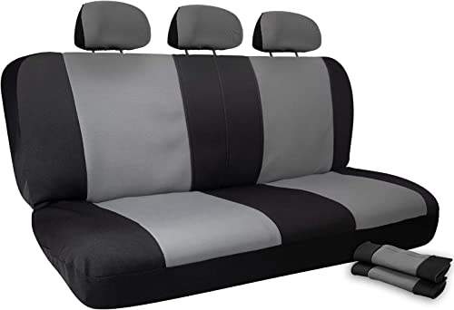 wholesale Car Seat Cover Protectors - Grip Control Non-Slip Poly Cloth Two-Toned with Rear Bench Back Seats Only high quality - Universal Fit for Automotive Vehicles outlet sale Cars, Trucks, SUVs, Vans -Black 8 Piece Set online