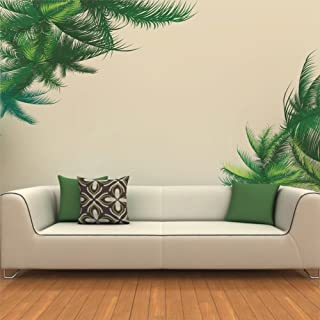 Green Leaf Bedroom Living Room Background Wall Stickers Paste Walldecals Decor Vinyl DIY Palm Tree Leaves Wall Stickers Fo...