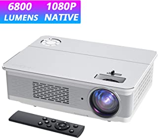 """Projector, COOAU 6800 Lumens Native 1080P Movie Projector, Support 300"""" Screen Projection and Smartphone Connection with Hi-Fi Speakers, Compatible with TV Stick/ Phone/ Laptop/ DVD Player/ PS4"""