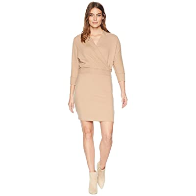 Three Dots Brushed Sweater Wrap Dress (Camel) Women