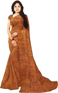 KLM Fashion Mall Women's Fancy Cotton Silk Saree (Brown)