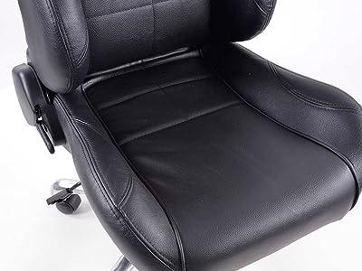 FK Automotive FKRSE011541 - Silla de oficina de estilo deportivo, piel sintética, color negro