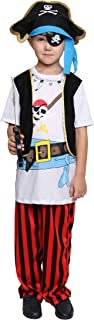 Boys Pirates Costumes Kids Skull Buccanner Halloween Pirate Captain Costume Sets