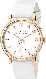 ساعة بيكر بسوار جلدي ومينا باللون الابيض للنساء من مارك باي مارك جايكوبز - طراز MBM1283