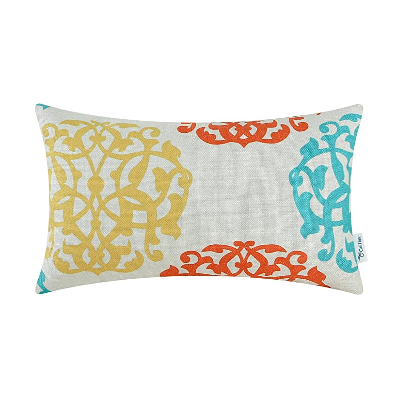CaliTime Canvas Bolster Pillow Cover Case for Couch Sofa Home Decoration Three-Tone Floral Compass Geometric 12 X 20 inches Turquoise/Yellow / Orange Red