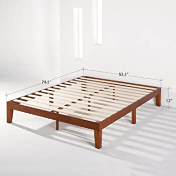 Mellow Naturalista Classic 12-Inch Solid Wood Platform Bed | Wooden Slats, No Box Spring Needed, Easy Assembly | Full...