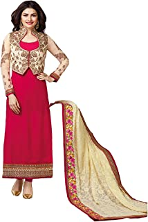 LAXMINARAYAN FAB Women's Faux Georgette Embroidered and Diamond Work Suit with Jacket (LNF013, Tomato, XXL)